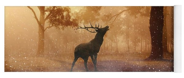 Stag In The Forest Yoga Mat