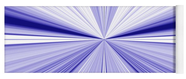 Starburst Light Beams In Blue And White Abstract Design - Plb455 Yoga Mat