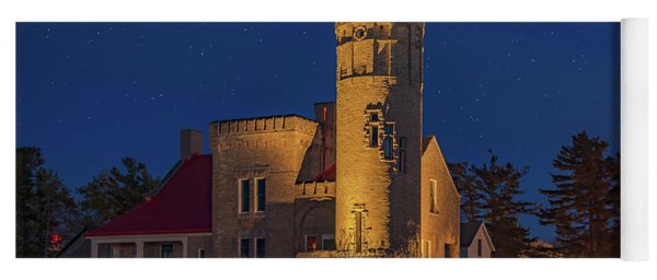 Starry Night At Old Mackinac Point Lighthouse  Yoga Mat