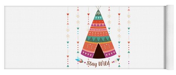 Stay Wild - Boho Chic Ethnic Nursery Art Poster Print Yoga Mat