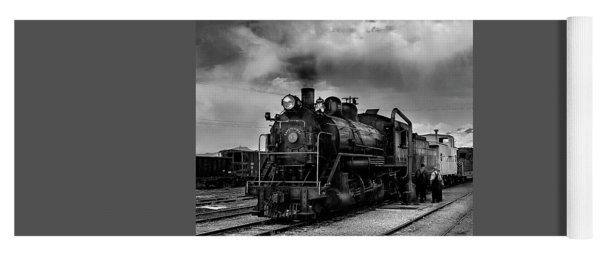 Steam Locomotive In Black And White 1 Yoga Mat