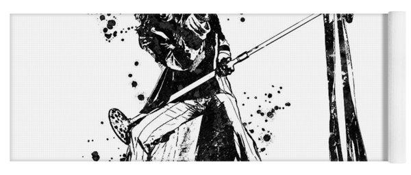 Steven Tyler Microphone Aerosmith Black And White Watercolor 01 Yoga Mat