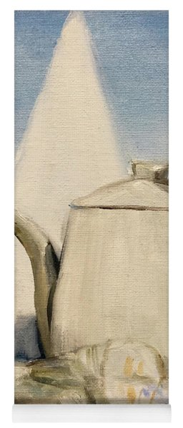 Still Life Of Pottery In White Yoga Mat