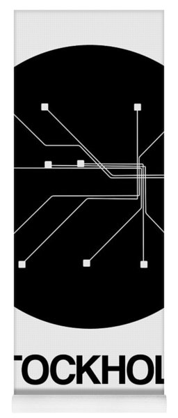 Stockholm Black Subway Map Yoga Mat
