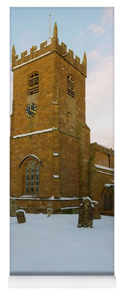 Stone Church In The Snow At Sunset Yoga Mat
