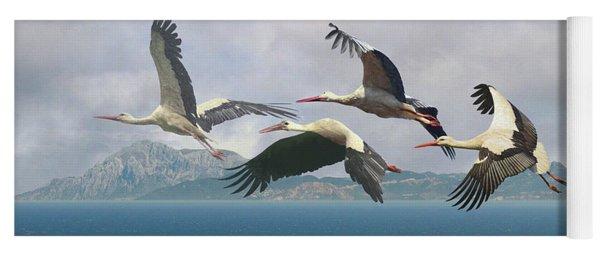 Storks Over The Straits Of Gibraltar Yoga Mat