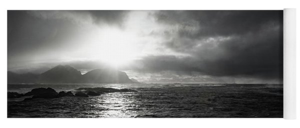 stormy coastline in northern Norway Yoga Mat