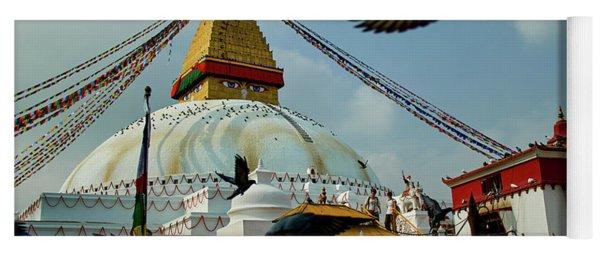 Stupa Bodhnath Kathmandu, Nepal - October 12, 2018 Yoga Mat