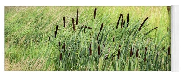 Summer Cattails In Field Of Grass - Yoga Mat