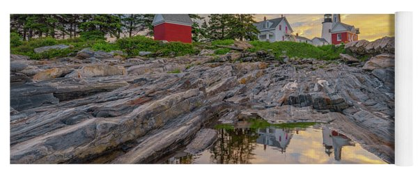 Summer Morning At Pemaquid Point Lighthouse Yoga Mat