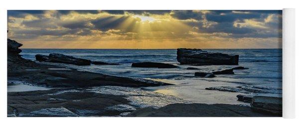 Sun Rays Burst Through The Clouds - Seascape Yoga Mat