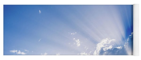 Sunbeams Rising From A Large Cloud In Intense Blue Sky On A Summer Afternoon Yoga Mat