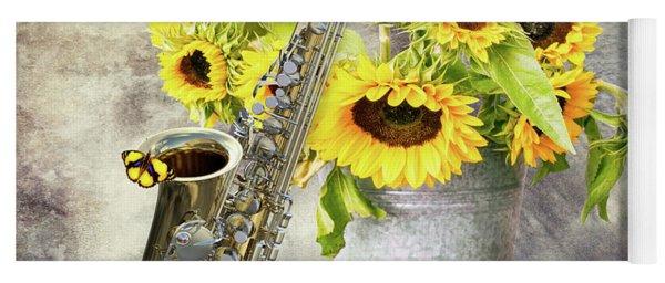 Sunflowers And Saxophone Yoga Mat