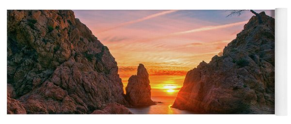 Sunrise In The Village Of Tossa De Mar, Costa Brava Yoga Mat