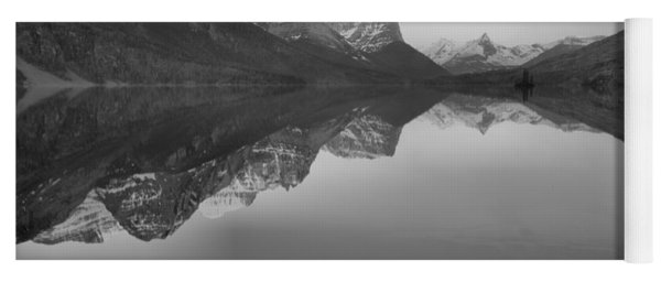 Sunrise Reflections Across St. Mary Lake Black And White Yoga Mat