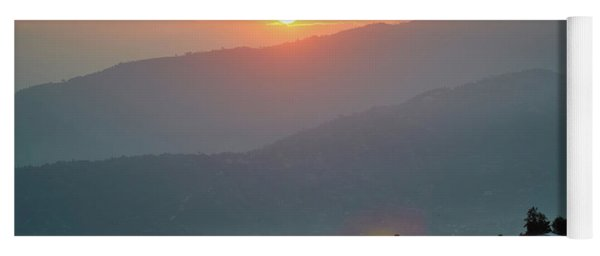 Sunset Above Mountain In Valley Himalayas Mountains Yoga Mat
