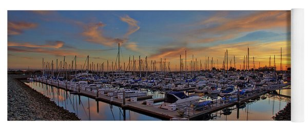 Sunset At Pier 32 Marina In National City, California Yoga Mat