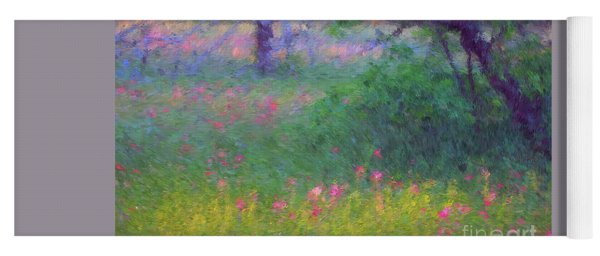 Sunset In Flower Meadow Yoga Mat