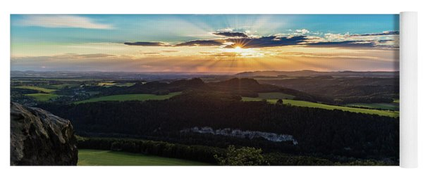Sunset In Saxon Switzerland, Lilienstein Yoga Mat