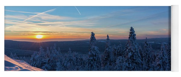 sunset in the Harz National Park, Germany Yoga Mat
