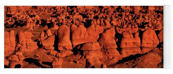 Sunset Light Turns The Hoodoos Blood Red In Goblin Valley State Park Utah Yoga Mat