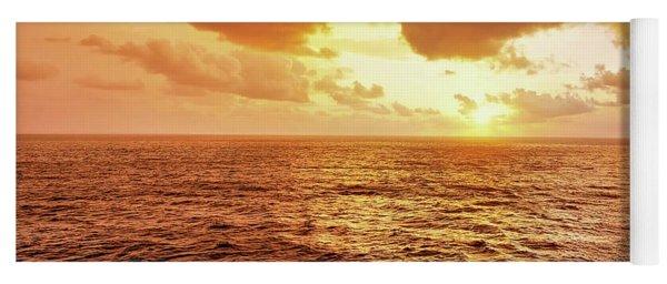 Sunset On A Caribbean Cruise On Msc Seaside, Red Sky Yoga Mat
