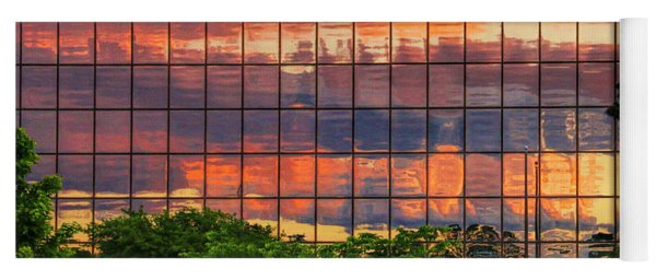 Sunset Reflections On A Wall Of Glass Yoga Mat