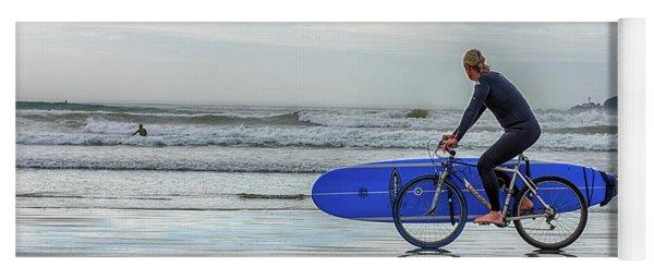 Surfer On Bike Yoga Mat
