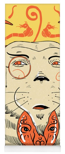 Yoga Mat featuring the drawing Surreal Cat by Sotuland Art