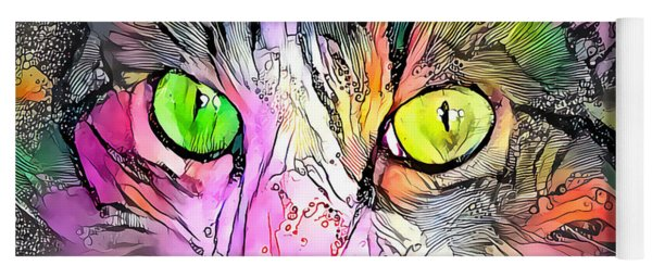Surreal Cat Wild Eyes Yoga Mat
