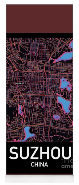 Suzhou City Map Yoga Mat