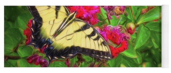 Swallowtail Among Flowers Yoga Mat