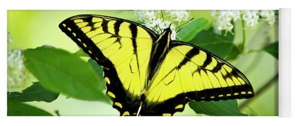 Swallowtail Butterfly Feeding On Flowers Yoga Mat