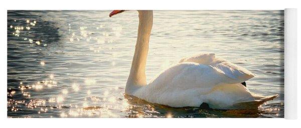 Swan On Golden Waters Yoga Mat