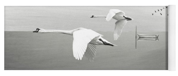 Swans At Sunrise Bw Yoga Mat