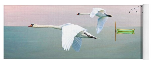 Swans At Sunrise Yoga Mat