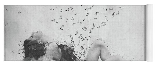 Sweet Jenny Bursting With Music In Black And White Yoga Mat