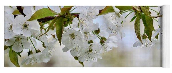 Sweet White Cherry Blossoms Yoga Mat