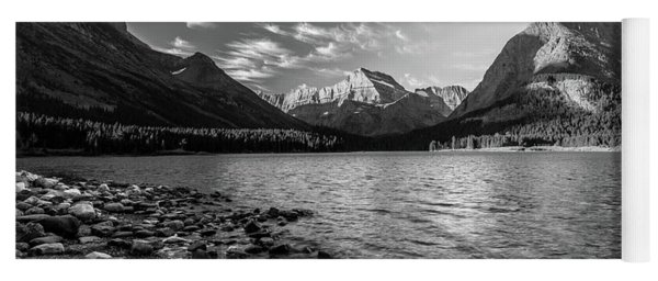 Swiftcurrent Lake In Bw Yoga Mat