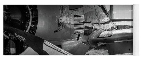 T-28b Trojan In Bw Yoga Mat