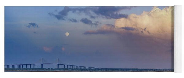 Tampa Bay Moon Rise At Sunset Yoga Mat