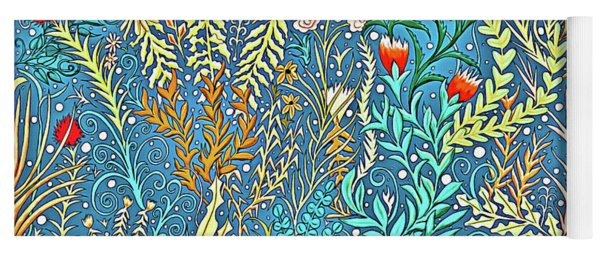 Tapestry And Home Decor Design In Cerulean Blue And Yellow With Vines, Flowers, And Butterflies Yoga Mat