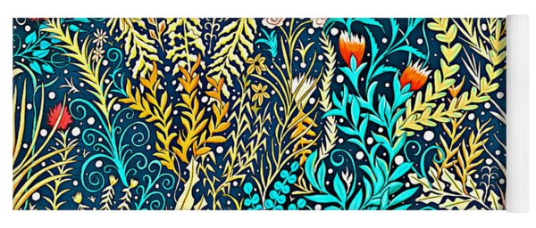 Tapestry And Home Decor Design In Dark Navy Blue With Yellow And Turquoise Foliage Yoga Mat