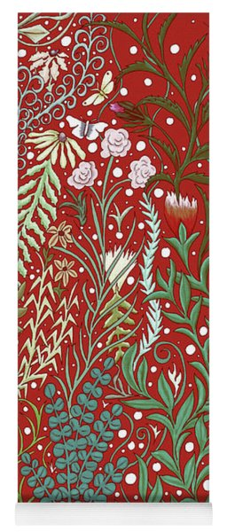 Tapestry And Rug Design In Dark Red With Millefleurs And Butterflies, Old World Yoga Mat