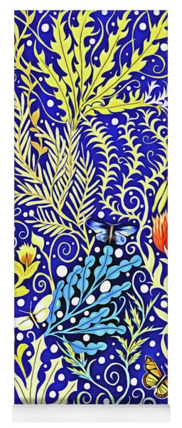 Tapestry Design In Blue And Yellow With Orange Flowers And White Butterflies Yoga Mat