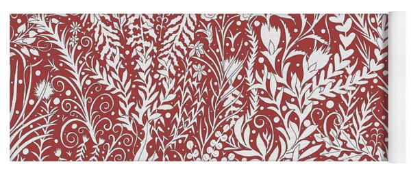 Tapestry Design In Brick Red And Light Gray With Leaves And Flowers Yoga Mat