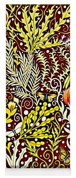 Tapestry Design With Autumn Colors And White Butterflies Yoga Mat