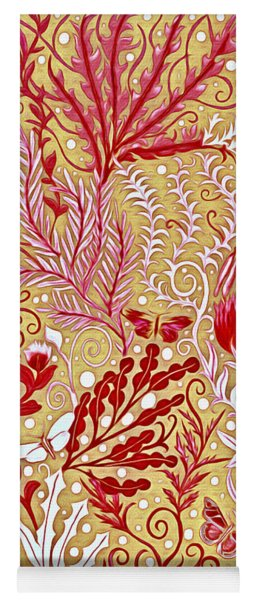 Tapestry Design With Red And Pink On A Gold Background Yoga Mat