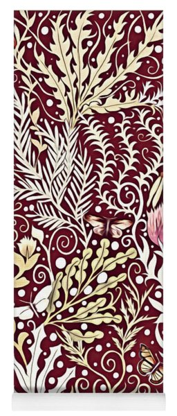 Tapestry Design, With White Butterflies, In A Deep Rich Red Yoga Mat
