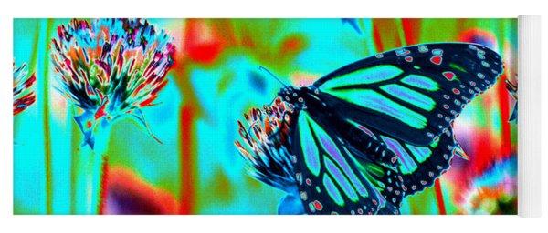 Teal Blue Monarch Butterfly Yoga Mat